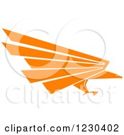 Clipart Of A Profiled Orange Eagle Royalty Free Vector Illustration