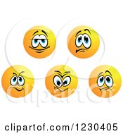 Clipart Of Round Yellow Smiley Face Emoticons In Different Moods 2 Royalty Free Vector Illustration