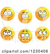 Clipart Of Round Yellow Smiley Face Emoticons In Different Moods Royalty Free Vector Illustration