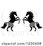 Clipart Of Two Black And White Rearing Horses Royalty Free Vector Illustration