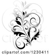Clipart Of A Black Flourish With A Shadow 9 Royalty Free Vector Illustration