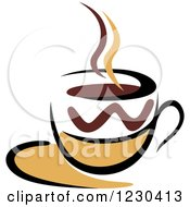Clipart Of A Tan And Brown Hot Steamy Coffee Cup 5 Royalty Free Vector Illustration