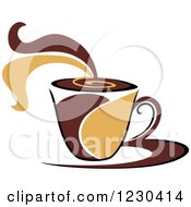 Clipart Of A Tan And Brown Hot Steamy Coffee Cup 8 Royalty Free Vector Illustration