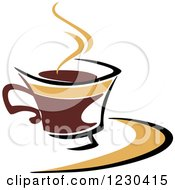 Clipart Of A Tan And Brown Hot Steamy Coffee Cup 4 Royalty Free Vector Illustration