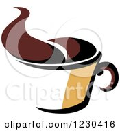 Clipart Of A Tan And Brown Hot Steamy Coffee Cup 3 Royalty Free Vector Illustration