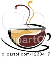 Clipart Of A Tan And Brown Hot Steamy Coffee Cup 7 Royalty Free Vector Illustration