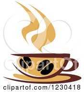 Clipart Of A Tan And Brown Hot Steamy Coffee Cup 6 Royalty Free Vector Illustration