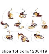 Clipart Of Tan And Brown Hot Steamy Coffee Cups Royalty Free Vector Illustration