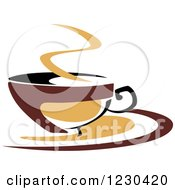 Clipart Of A Tan And Brown Hot Steamy Coffee Cup 9 Royalty Free Vector Illustration