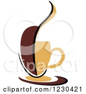 Clipart Of A Tan And Brown Hot Steamy Coffee Cup And Half Bean Royalty Free Vector Illustration