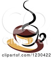 Clipart Of A Tan And Brown Hot Steamy Coffee Cup Royalty Free Vector Illustration