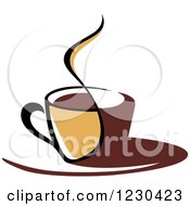 Clipart Of A Tan And Brown Hot Steamy Coffee Cup 2 Royalty Free Vector Illustration