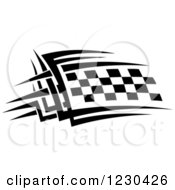 Clipart Of A Black And White Checkered Tribal Racing Flag 11 Royalty Free Vector Illustration