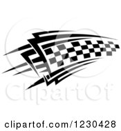 Clipart Of A Black And White Checkered Tribal Racing Flag 10 Royalty Free Vector Illustration