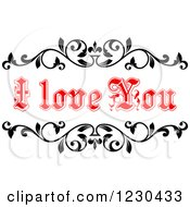 Clipart Of A Red I Love You Text And Black Vines Royalty Free Vector Illustration