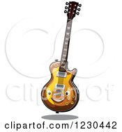 Clipart Of A Happy Electric Guitar Royalty Free Vector Illustration