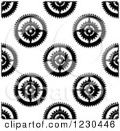 Clipart Of A Seamless Background Pattern Of Gears 2 Royalty Free Vector Illustration