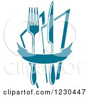Clipart Of A Blue Banner With A Knife Fork And Napkins Royalty Free Vector Illustration