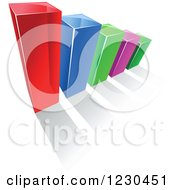 Clipart Of A 3d Colorful Bar Graph And Shadow 14 Royalty Free Vector Illustration