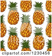 Clipart Of A Seamless Happy Pineapple Pattern Background 2 Royalty Free Vector Illustration