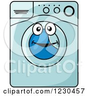 Clipart Of A Blue Front Loader Washing Machine Character Royalty Free Vector Illustration by Vector Tradition SM