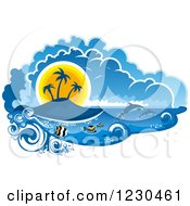 Clipart Of A Sunset Island With Fish And Dolphins Royalty Free Vector Illustration