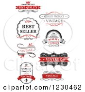 Clipart Of Vintage Premium Quality Guarantee Labels 2 Royalty Free Vector Illustration
