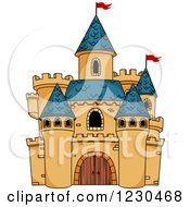 Clipart Of A Castle With Blue Turrets Royalty Free Vector Illustration by Vector Tradition SM