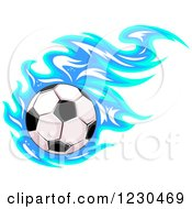 Clipart Of A Soccer Ball With Blue Flames Royalty Free Vector Illustration