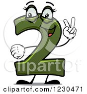 Clipart Of A Happy Green Number Two Character Holding Up 2 Fingers Royalty Free Vector Illustration