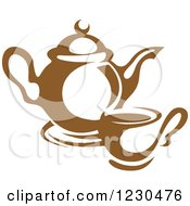 Clipart Of A Brown Tea Pot And Cup Royalty Free Vector Illustration