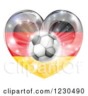 Clipart Of A Reflective German Flag Heart And Soccer Ball Royalty Free Vector Illustration