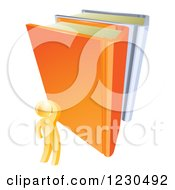 Clipart Of A 3d Gold Person Looking Up At Giant Books Royalty Free Vector Illustration