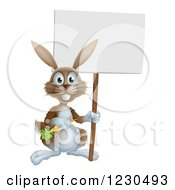 Happy Brown Bunny Rabbit With A Carrot Holding A Sign
