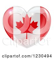 Clipart Of A 3d Reflective Canadian Flag Heart Royalty Free Vector Illustration