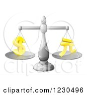 Clipart Of A 3d Scale Comparing The Dollar And Yuan Royalty Free Vector Illustration by AtStockIllustration
