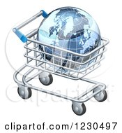 Clipart Of A 3d Blue Grid Globe In A Shopping Cart Royalty Free Vector Illustration by AtStockIllustration