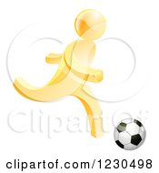 Clipart Of A 3d Gold Person Playing Soccer Royalty Free Vector Illustration by AtStockIllustration