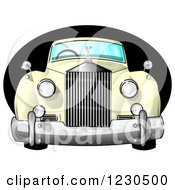 Clipart Of A Vintage Antique Luxury Car Over A Black Oval Royalty Free Illustration