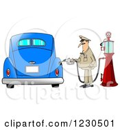 Clipart Of A Male Attendant Pumping An Antique Blue Car With An Old Fashioned Gas Pump Royalty Free Illustration