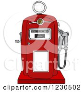 Clipart Of A Retro Red Gas Pump Royalty Free Vector Illustration