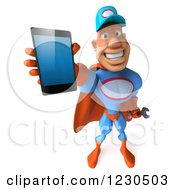 Clipart Of A 3d Super Hero Mechanic Holding Out A Smartphone Royalty Free Illustration