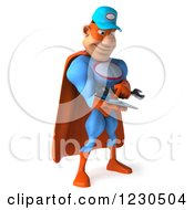 Clipart Of A 3d Super Hero Mechanic Texting On A Smartphone Royalty Free Illustration by Julos