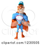 Clipart Of A 3d Super Hero Mechanic Walking With A Wrench Royalty Free Illustration