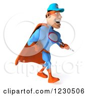 Clipart Of A 3d Super Hero Mechanic Walking With A Wrench 2 Royalty Free Illustration