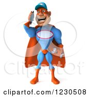 Clipart Of A 3d Super Hero Mechanic Talking On A Smartphone Royalty Free Illustration