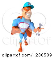Clipart Of A 3d Super Hero Mechanic Walking With A Wrench 3 Royalty Free Illustration