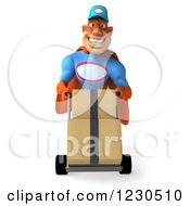 Clipart Of A 3d Super Hero Mechanic Moving Boxes On A Dolly Royalty Free Illustration