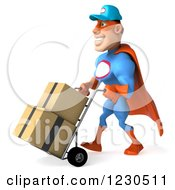 Clipart Of A 3d Super Hero Mechanic Moving Boxes On A Dolly 2 Royalty Free Illustration