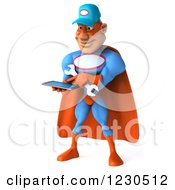 Clipart Of A 3d Super Hero Mechanic Texting On A Smartphone Royalty Free Illustration